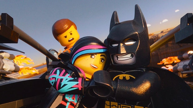 From left, Emmet, voiced by Chris Pratt, Wyldstyle, voiced by Elizabeth Banks and Batman, voiced by Will Arnett, in a scene from Warner Bros. Pictures Canada's 'The Lego Movie'