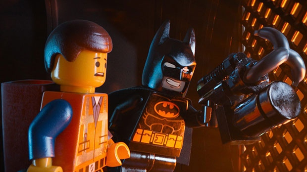 Emmet, voiced by Chris Pratt, left, and Batman, voiced by Will Arnett, in a scene from Warner Bros. Pictures Canada's 'The Lego Movie'