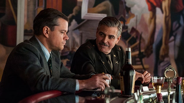 Matt Damon, left, and George Clooney in a scene from Sony Pictures Canada's 'The Monuments Men'