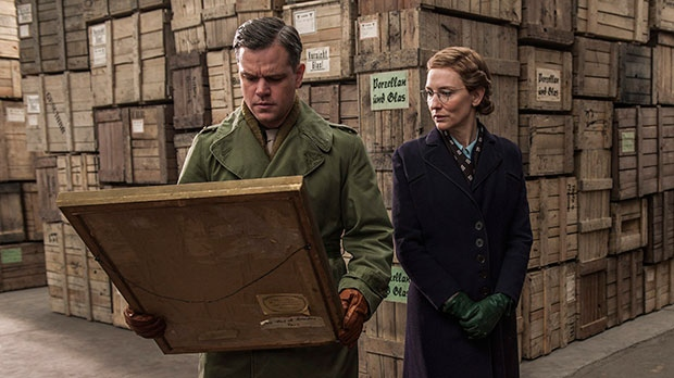 Matt Damon and Cate Blanchett in a scene from Sony Pictures Canada's 'The Monuments Men'