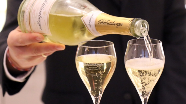 Two glasses of sparkling wine in Vienna, Austria