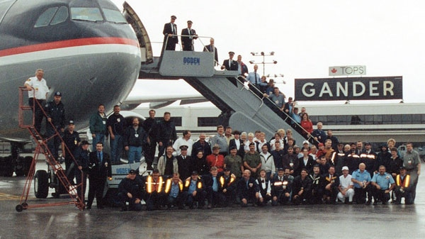 This Sept. 15, 2001 photo provided by Des Dillon shows the last flight to leave the town after the passengers were stranded there for five days following the Sept. 11, 2001 terrorists attacks.