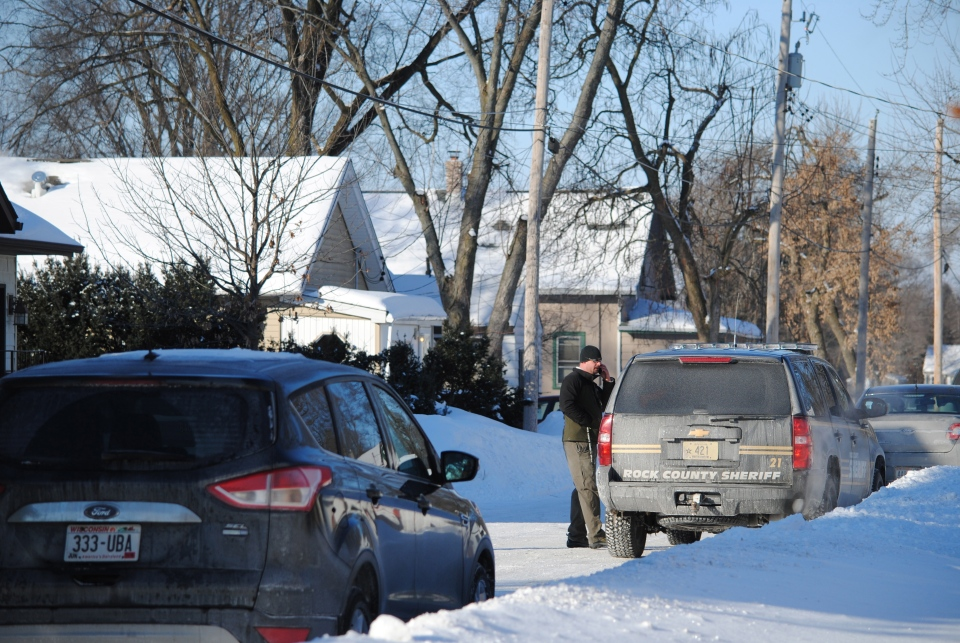 Town of Beloit Police, Rock County Sheriff's Office and FBI agents were all on the scene Thursday, Feb. 6, 2014, in the 800 block of Homeland Court to investigate a report of a missing baby, 5-day-old baby Kayden Powell. (AP / Beloit Daily New, Shaun Zinck)
