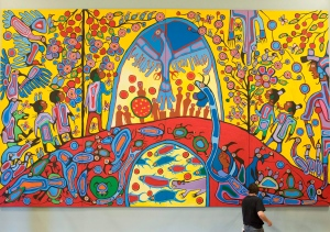 "Canadian Aboriginal artist Norval Morrisseau's painting ""Androgyny"" in the ballroom at Rideau Hall, Sept. 18, 2008 in Ottawa."