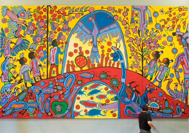 """Canadian Aboriginal artist Norval Morrisseau's painting """"Androgyny"""" in the ballroom at Rideau Hall, Sept. 18, 2008 in Ottawa."""