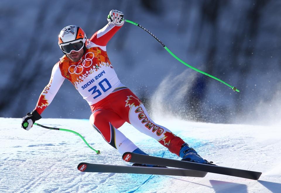 Canada's Jan Hudec makes a turn in a men's downhill training run for the Sochi 2014 Winter Olympics in Sochi, Russia, Friday, Feb. 7, 2014. (AP / Alessandro Trovati)
