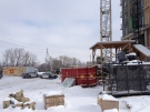 Police guard the site of a construction accident in Waterloo, Ont., on Friday, Feb. 7, 2014. (Nadia Matos / CTV Kitchener)