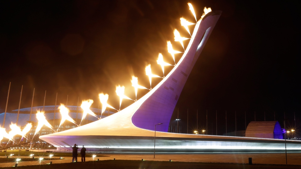 The Olympic Cauldron is lit during the opening ceremony of the 2014 Winter Olympics in Sochi, Russia, Friday, Feb. 7, 2014. (AP / Darron Cummings)