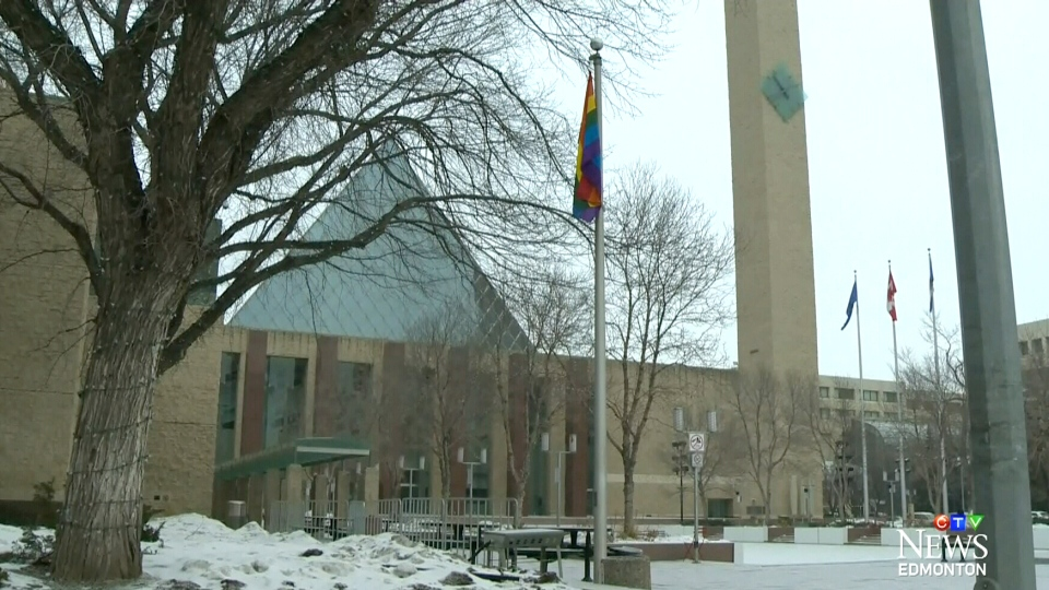 A rainbow flag flies at Edmonton City Hall, Friday, Feb. 7, 2014.