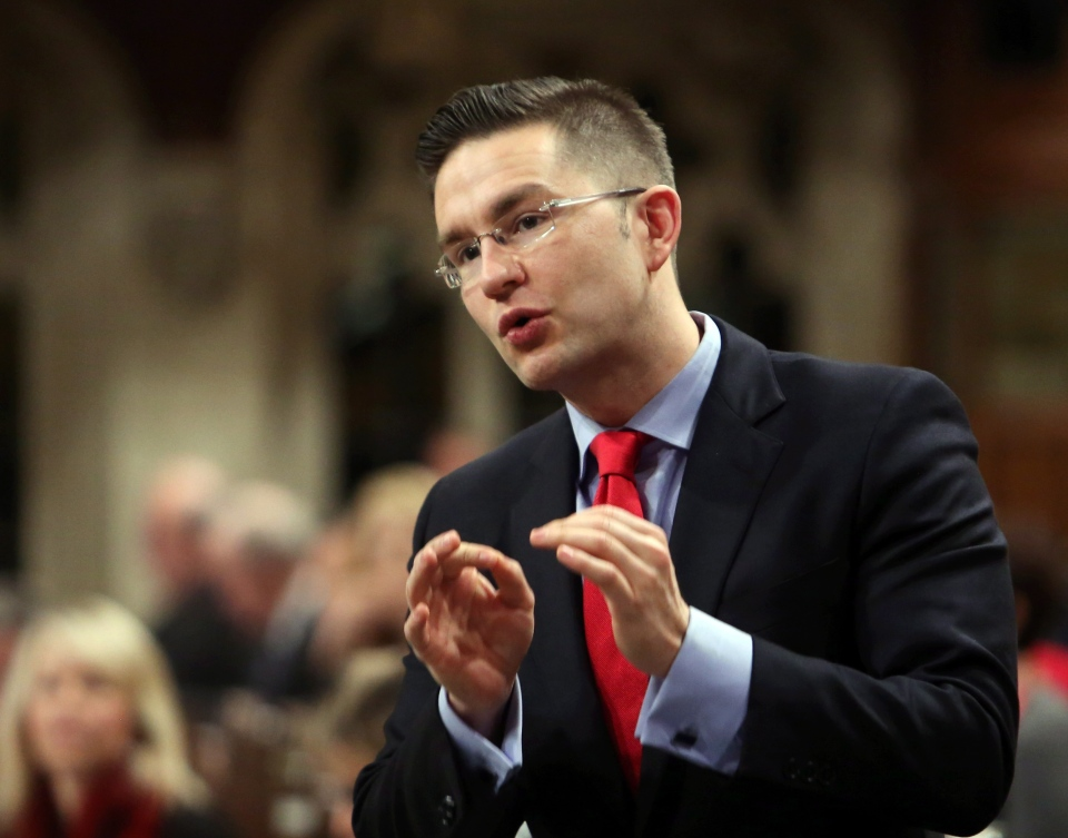 Minister of State Pierre Poilievre stands in the House of Commons during Question Period, in Ottawa Friday, February 7, 2014. (Fred Chartrand / THE CANADIAN PRESS)