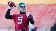 Drew Willy throws a pass as the Saskatchewan Roughriders practice on Friday November 22, 2013 in Regina. THE CANADIAN PRESS/Liam Richards
