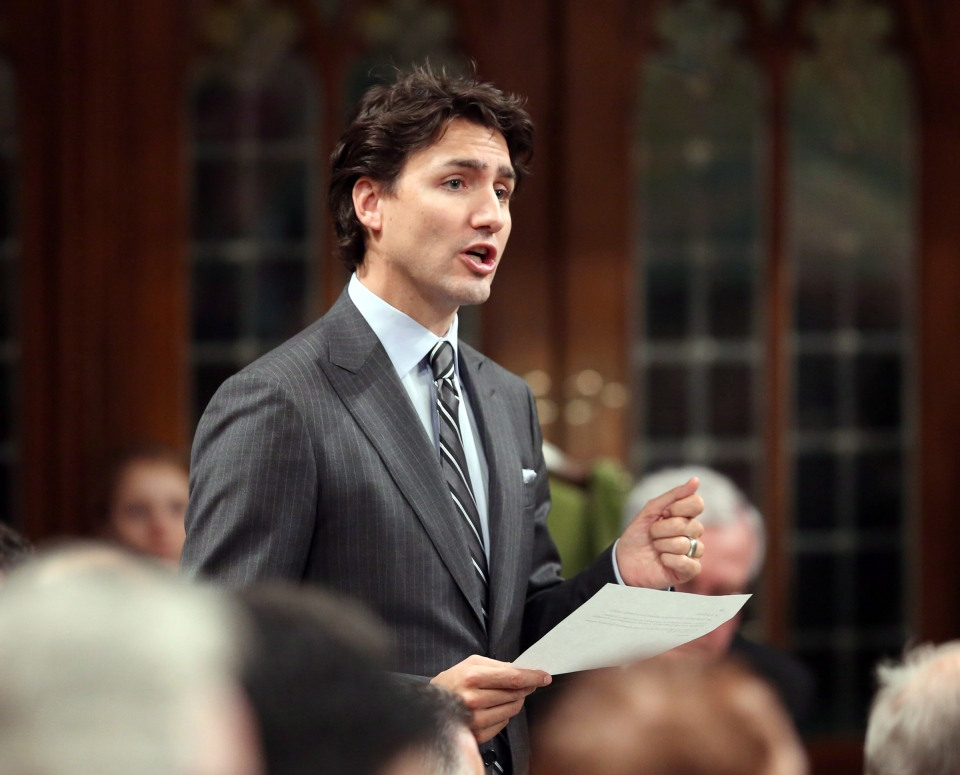 Liberal Leader Justin Trudeau stands in the House of Commons during Question Period in Ottawa, Tuesday, February 4, 2014. (Fred Chartrand / THE CANADIAN PRESS)