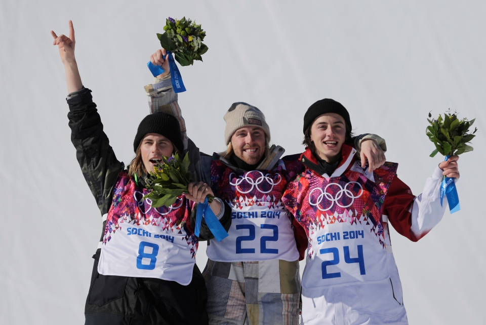 United States' Sage Kotsenburg, centre, celebrates with Norway's Staale Sandbech, left, and Canada's Mark McMorris after Kotsenburg won the men's snowboard slopestyle final at the Rosa Khutor Extreme Park, at the 2014 Winter Olympics in Krasnaya Polyana, Russia, Saturday, Feb. 8, 2014. (AP / Andy Wong)