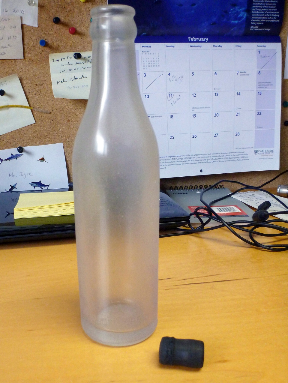 A message that was found inside a glass bottle is shown after being recovered on Sable Island, Nova Scotia, by biologist Warren N. Joyce of Canada's Department of Fisheries and Oceans in January 2014. (Woods Hole Oceanographic Institution / Warren N. Joyce)