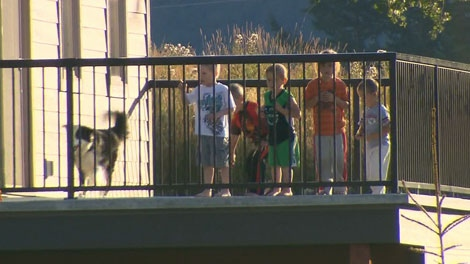 Kienan Hebert, the three year old abducted from his bed in Sparwood, B.C. earlier this week, plays with family and friends after being returned to his family home. Sept. 11, 2011.
