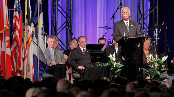 Public Safety Minister Vic Toews is seen addressing the crowd at a memorial ceremony in Gander, N.L., on Sunday, Sept. 11, 2011. (Tom Podelec / CTV News)