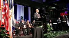 U.S. Ambassador to Canada David Jacobson makes a speech at a memorial ceremony in Gander, N.L., on Sunday, Sept. 11, 2011. (Tom Podelec / CTV News)