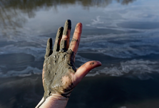 Wet coal ash from the Dan River