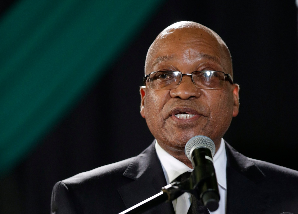 South African President Jacob Zuma speaks at a tribute to Nelson Mandela in December.  (AP / Themba Hadebe)