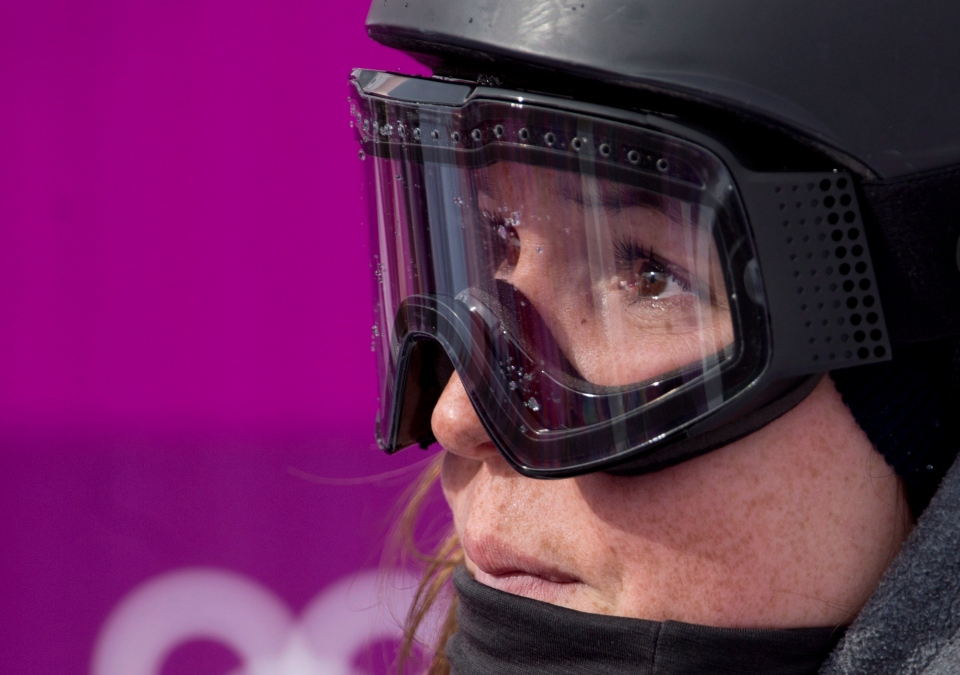 Canada's Spencer O'Brien, from Courtenay, B.C., shows her disappointment as she waits for her scores in the Ladies' Slopestyle snowboard event at the Sochi Winter Olympics Sunday in Krasnaya Polyana, Russia, on February 9, 2014. (THE CANADIAN PRESS/Adrian Wyld)