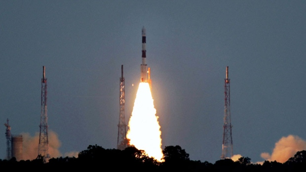 PSLV C-17 satellite takes off during its launch from the Satish Dhawan Space Centre in Srihakota, India on July 15, 2011. (AP Photo)