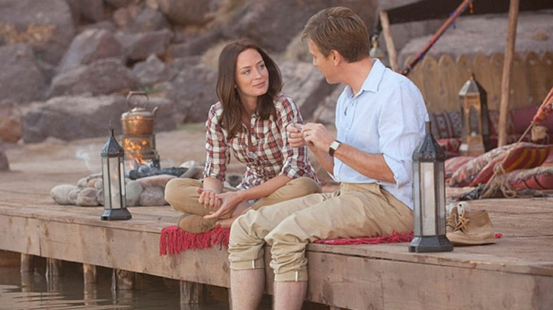 Actress Emily Blunt is seen in an image from the movie, 'Salmon Fishing in the Yemen.'