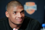 Missouri senior defensive lineman Michael Sam speaks to the media during an NCAA college football news conference in Irving, Texas on Jan. 1, 2014. Sam says he is gay, and he could become the first openly homosexual player in the NFL. (AP Photo/Brandon Wade)