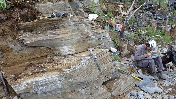 Quarry site and Diego Balseiro (Photo Courtesy: Dr. Jean-Bernard Caron)