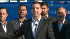Progressive Conservative Leader Tim Hudak appears on the campaign trail on Monday, Sept. 12, 2011.