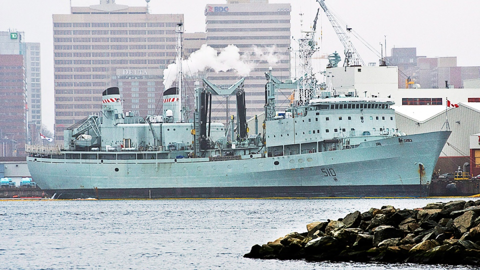 HMCS Preserver, a Royal Canadian Navy supply ship, is docked in Halifax on Wednesday, Feb. 5, 2014. (Andrew Vaughan / THE CANADIAN PRESS)