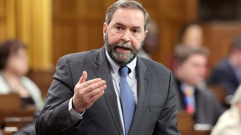 NDP Leader Tom Mulcair stands in the House of Commons during question period, in Ottawa, Tuesday, Feb. 11, 2014. (Fred Chartrand / THE CANADIAN PRESS)