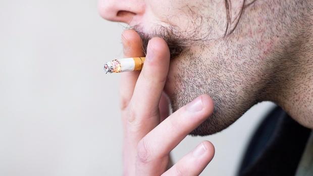 A smoker inhales during a cigarette break in B.C.