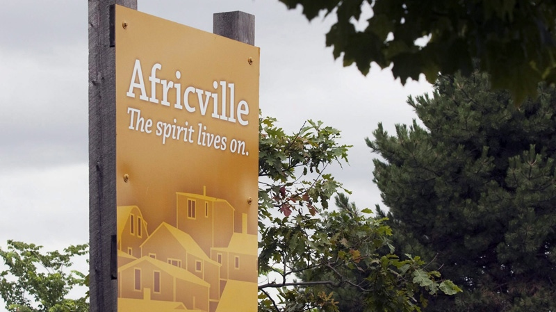 A new sign was unveiled at a ceremony to rename Seaview Park to Africville in Halifax on Friday, July 29, 2011. (THE CANADIAN PRESS/Andrew Vaughan)