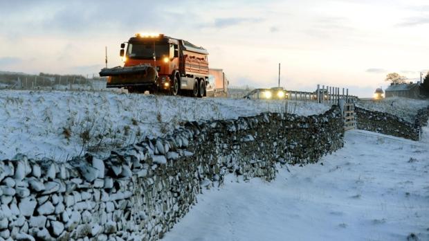 Snow in Durham, northeast England on Feb 12, 2014