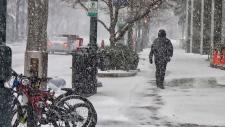 Snow storm in uptown Charlotte, N.C.