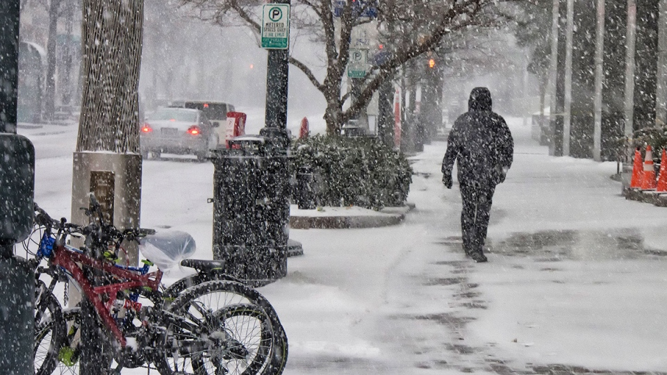 Cars move and one person walks north on South Tryon Street during a snow storm in uptown Charlotte, N.C., Wednesday, Feb. 12, 2014.  (The Charlotte Observer / Mark Hames)