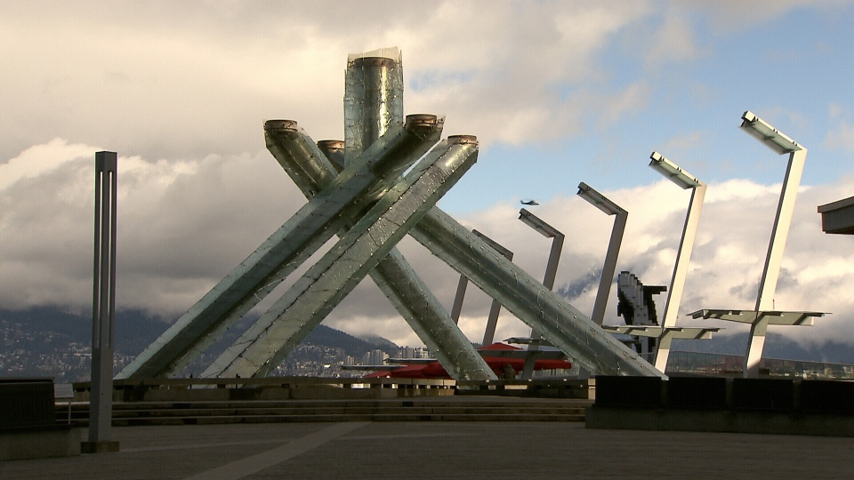 Vancouver's Olympic cauldron in Jack Poole Plaza will be lit on Wednesday, Feb. 12, 2014. (CTV)