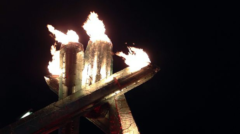 Vancouver's Olympic Cauldron was lit the night of Feb. 12, 2014 to commemorate the Winter Olympics in Sochi, Russia -- four years after Wayne Gretzky set the torch aflame to kick off the 2010 Games. Feb. 12, 2014. (CTV)