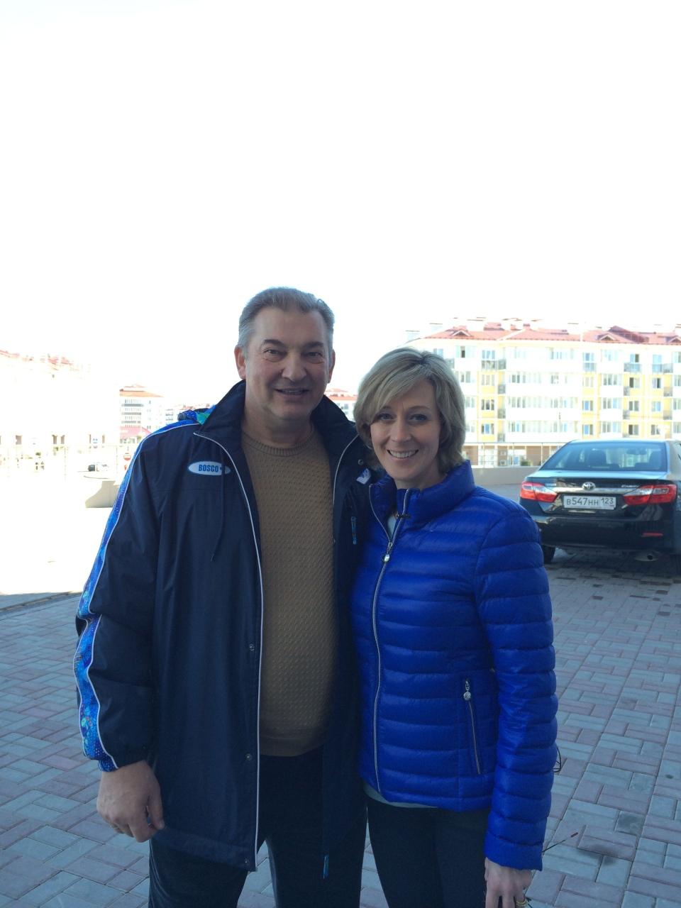 CTV's Genevieve Beauchemin poses with Russian goaltending legend Vladislav Tretia in Sochi, Russia Thursday, Feb. 13, 2014.