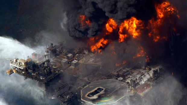 The Deepwater Horizon oil rig is seen burning, in the Gulf of Mexico more than 50 miles southeast of Venice on Louisiana's tip, Wednesday, April 21, 2010. (AP / Gerald Herbert)