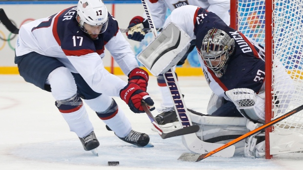USA in action against Slovakia in Sochi