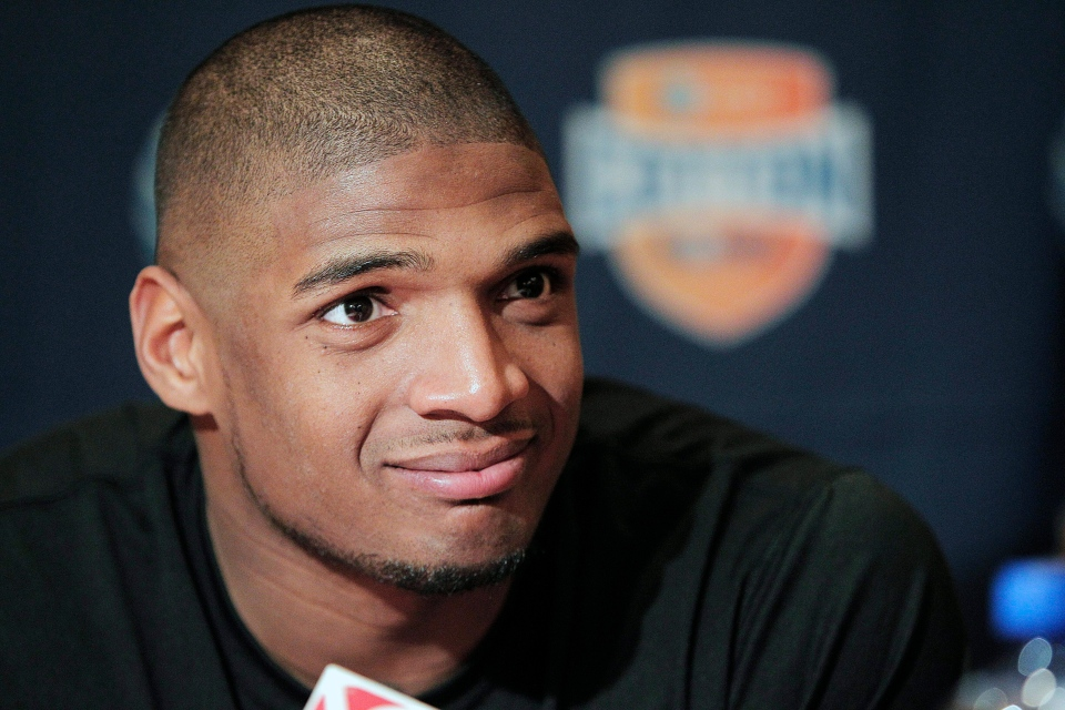 In this Jan. 1, 2014, file photo, Missouri senior defensive lineman Michael Sam speaks to the media during an NCAA college football news conference in Irving, Texas. (AP / Brandon Wade)