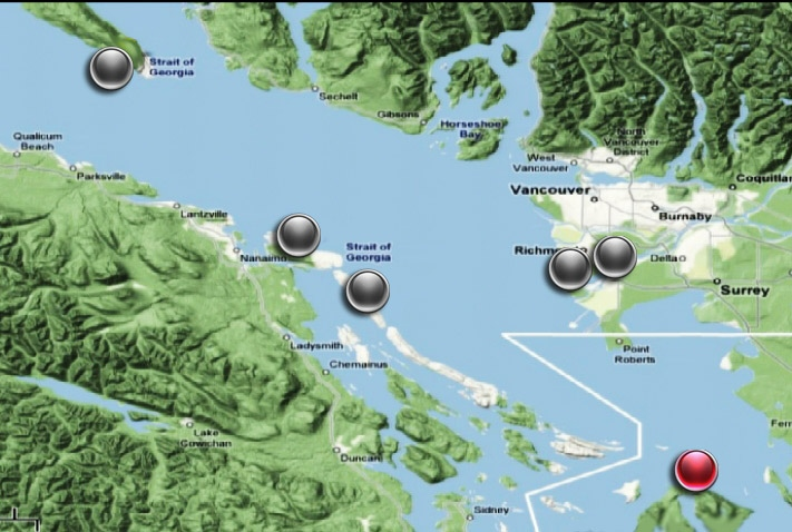 Locations in B.C. and Washington State where the missing feet have washed ashore. July 18, 2008