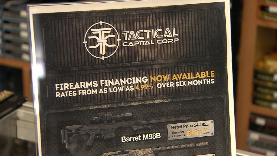 A promotional image shown at Wanstalls in Maple Ridge displays financing options for a Barret M98B sniper rifle. Feb. 13, 2014. (CTV)