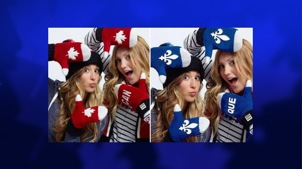 Quebec's higher education minister, Pierre Duchesne, says he was taken in by an altered photo, shown here on the right, of Olympic medal-winning Canadian sisters showing them wearing mittens emblazoned with the Fleur-de-lis. (THE CANADIAN PRESS / HO)