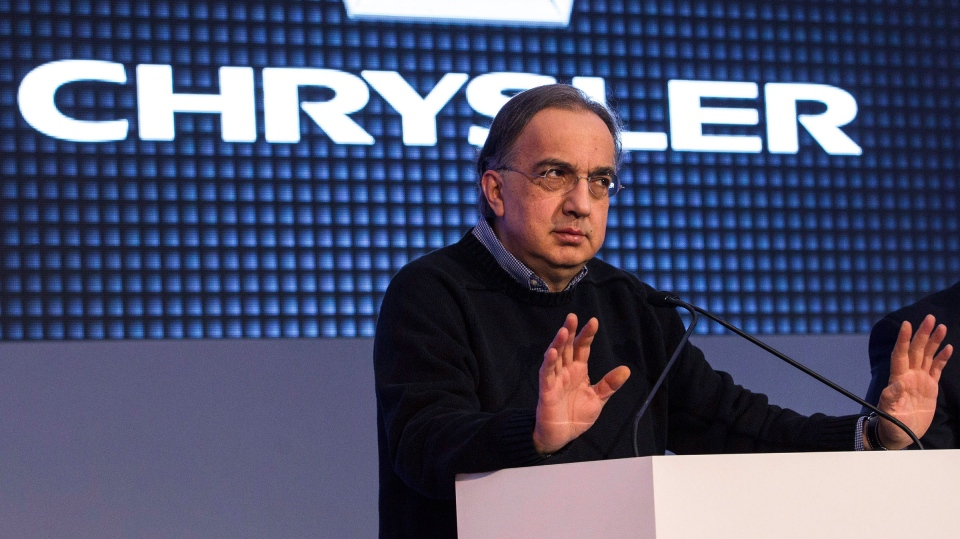 Sergio Marchionne, Chrysler's CEO, speaks at the Canadian International Auto Show in Toronto , on Thursday February 13 , 2014. (Chris Young / THE CANADIAN PRESS)