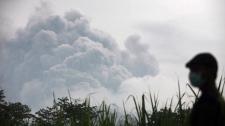 Mount Kelud erupts wide shot in Indonesia