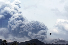 Mount Kelud erupts as seen from Anyar village