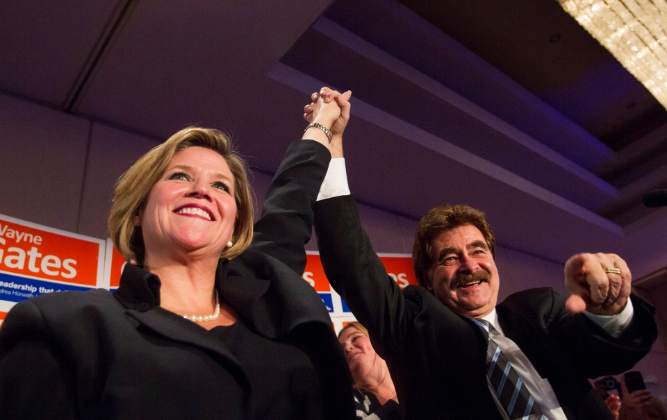 New Democrat Wayne Gates, the newly elected Ontario Member of Provincial Parliament for Niagara Falls, right, is congratulated on his by-election victory by Ontario NDP Leader Andrea Horwath at a victory party in Niagara Falls, Ont., Thursday, Feb. 13, 2014. (Aaron Lynett / THE CANADIAN PRESS)