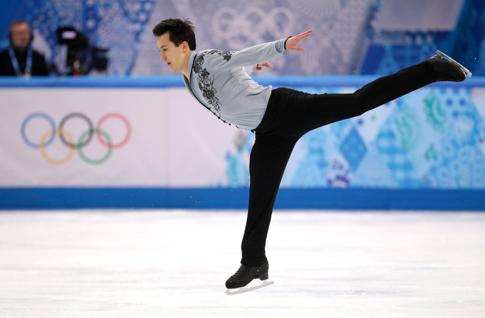 Patrick Chan of Canada competes in the men's free skate figure skating final at the Iceberg Skating Palace during the 2014 Winter Olympics, Friday, Feb. 14, 2014, in Sochi, Russia. (AP / Bernat Armangue)